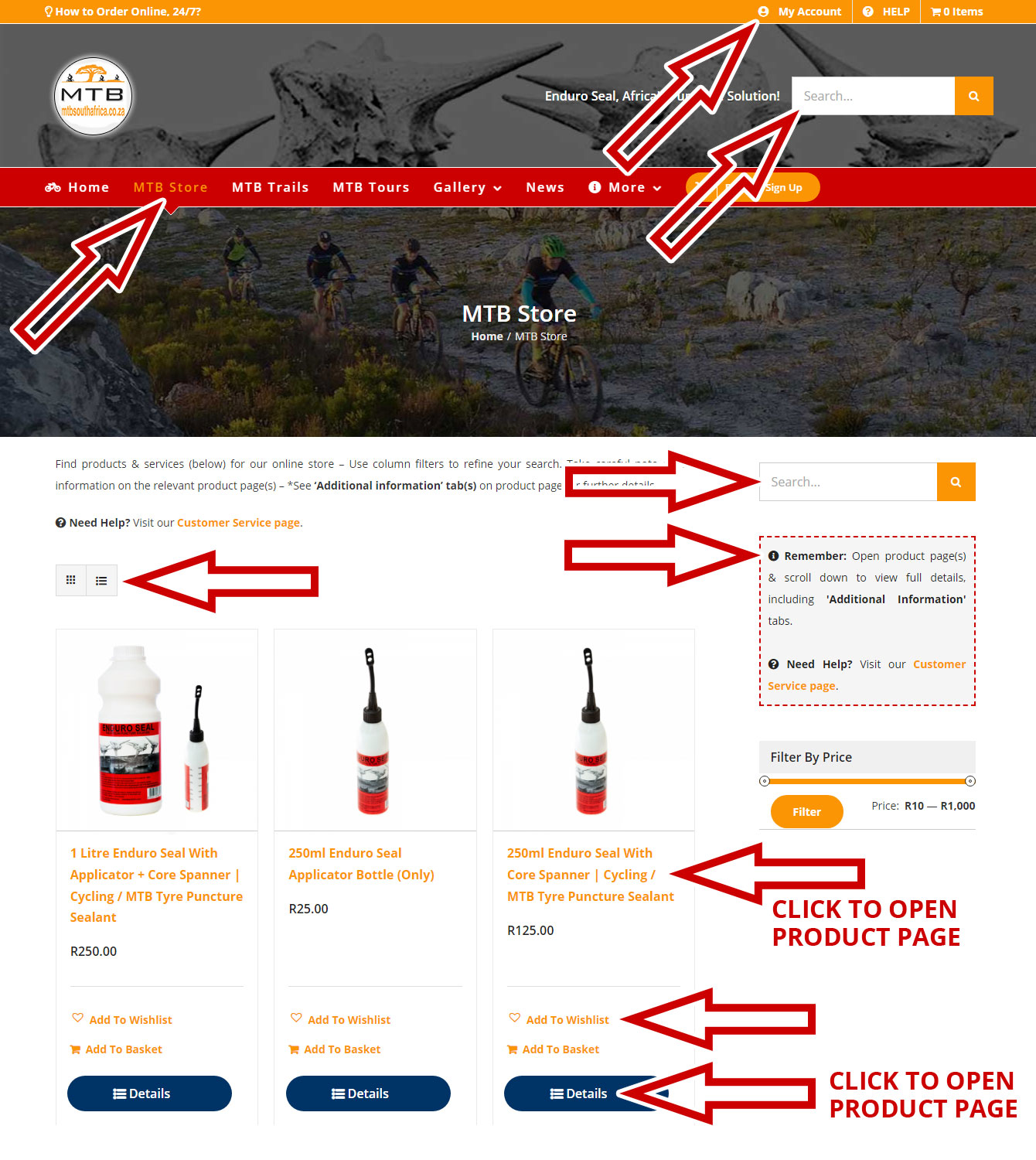 MTB South Africa (MTB SA) / Enduro Seal | Customer Service: Store Category Page Overview